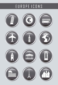 Icone di europa su sfondo grigio illustrazione vettoriale