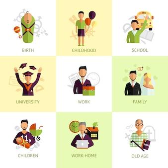 Icone di fasi di vita umana impostate piatte