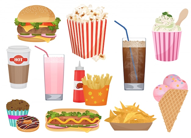 Icone di fast food per menu