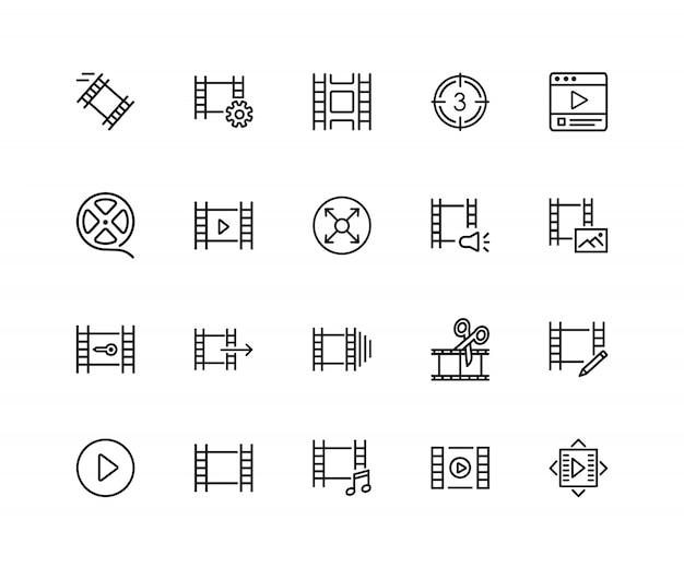 Icone di filmstrip. set di venti icone di linea. film reel, editing, multimedia.