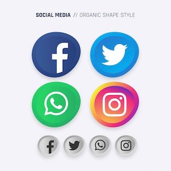 Icone di forma organica di media sociali