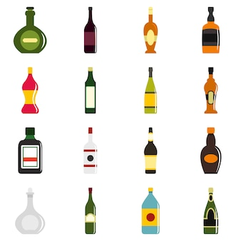 Icone di forme di bottiglia impostate in stile piano