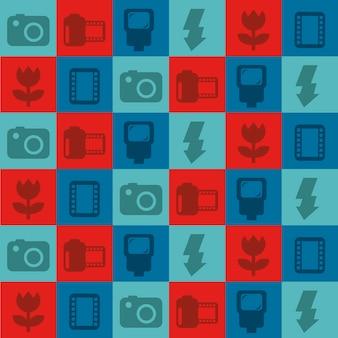 Icone di fotografia sopra l'illustrazione di vettore del fondo dei quadrati