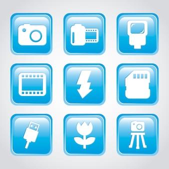 Icone di fotografia su sfondo grigio illustrazione vettoriale