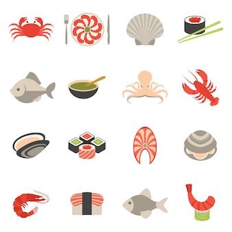 Icone di frutti di mare impostate piatte
