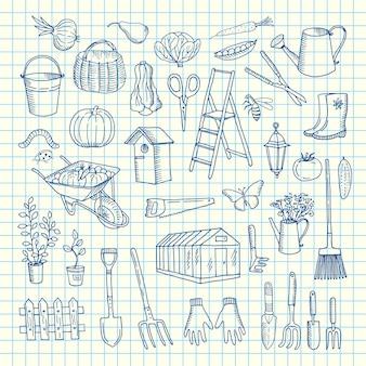 Icone di giardinaggio di scarabocchio sull'illustrazione del foglio cellulare