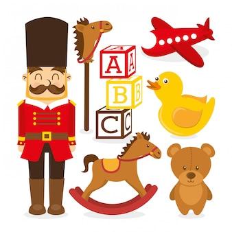 Icone di giocattoli sopra illustrazione vettoriale sfondo bianco