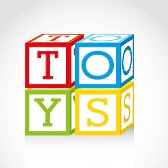 Icone di giocattoli sopra illustrazione vettoriale sfondo grigio