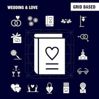 Icone di glifo solidi di nozze e amore