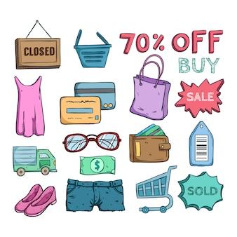Icone di grande vendita e shopping tempo o elementi con stile colorato doodle