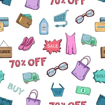 Icone di grande vendita e shopping tempo o elementi nel modello senza cuciture con stile doodle