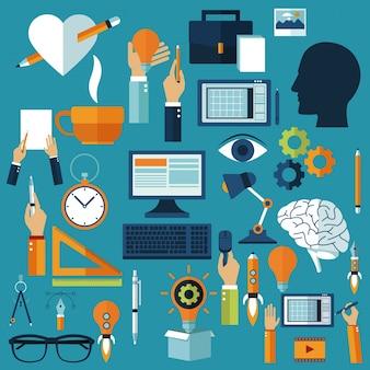 Icone di idee multimediali creative