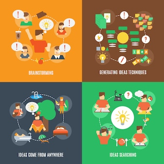 Icone di idee piatte