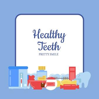 Icone di igiene dei denti di stile piano mucchio sotto telaio con posto per illustrazione del testo