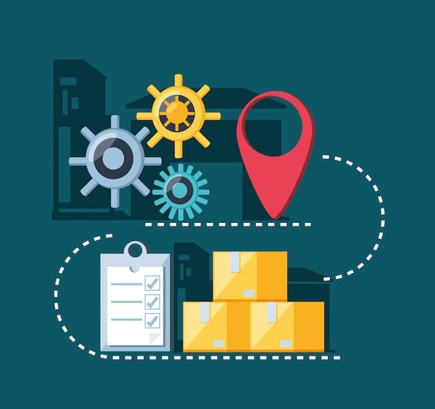 Icone di infographic di servizio di consegna