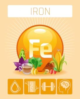 Icone di integratori vitaminici minerali iron fe. simbolo di dieta sana di cibi e bevande, modello medico del manifesto di infographics 3d. design a benefici piatti