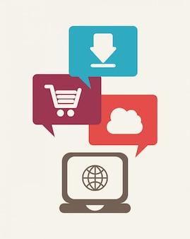 Icone di internet su sfondo bianco illustrazione vettoriale