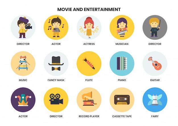 Icone di intrattenimento messe per affari