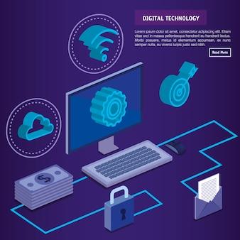 Icone di isometrics di tecnologia digitale