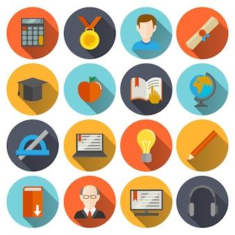 Icone di istruzione rotonde