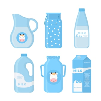 Icone di latte e latticini in uno stile piatto per grafica, web design e logo. raccolta di prodotti lattiero-caseari, tra cui latte, burro, formaggio, yogurt, ricotta, gelato, panna.