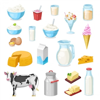Icone di latte, formaggio e burro di fattoria di prodotti lattiero-caseari