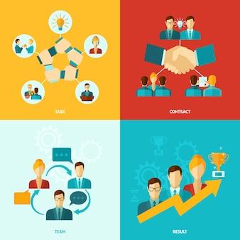 Icone di lavoro di squadra piatte
