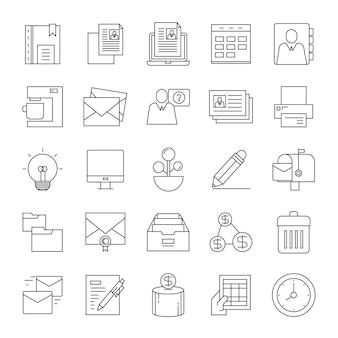 Icone di linea aziendale e ufficio