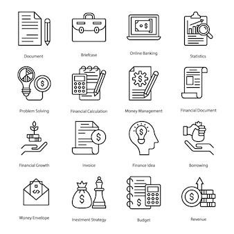 Icone di linea bancaria