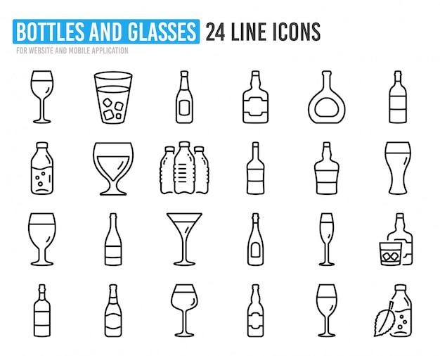 Icone di linea di bottiglia di vino. set di birra artigianale, whisky e bicchieri di vino.