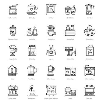 Icone di linea di caffetteria