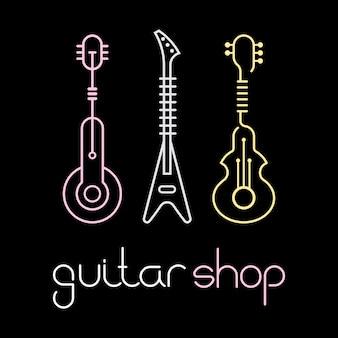 Icone di linea di chitarra per negozio di chitarra