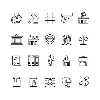 Icone di linea di legge e giustizia. corte, giudice e avvocato. simboli online della polizia criminale