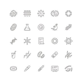 Icone di linea di microbi di contagio, virus influenzale e microrganismi