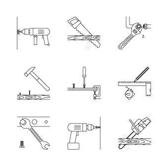 Icone di linea di riparazione a casa