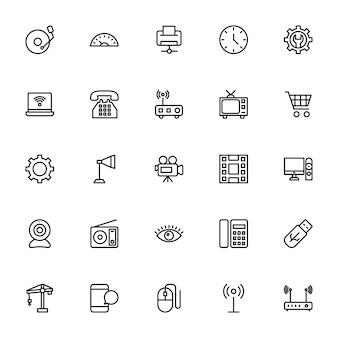 Icone di linea di scienza e tecnologia