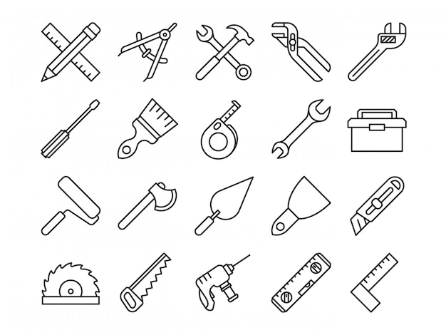 Icone di linea di strumenti meccanici
