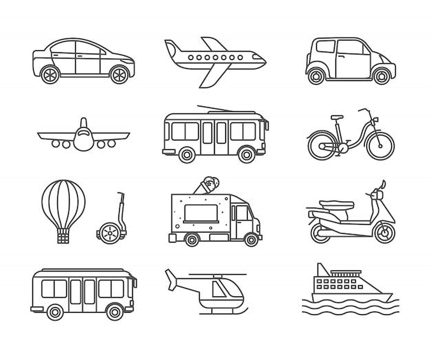 Icone di linea di trasporto