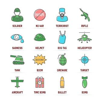 Icone di linea di vettore di guerra con colori piatti