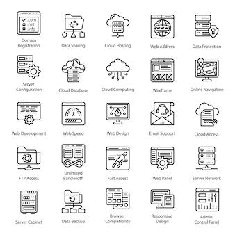 Icone di linea di web hosting