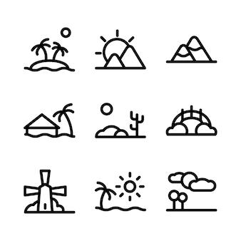 Icone di linea giardinaggio lanscape