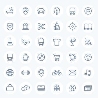 Icone di linea impostate per mappe, navigazione