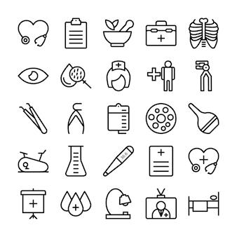 Icone di linea medica, salute e ospedale