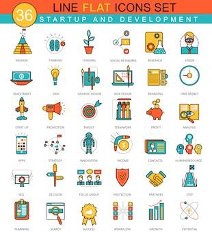 Icone di linea piatta di avvio e sviluppo