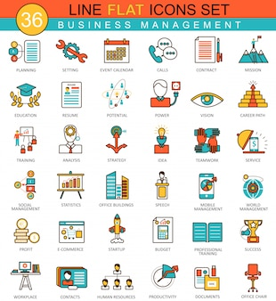 Icone di linea piatta di gestione aziendale