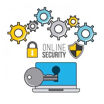 Icone di linea piatta di sicurezza online