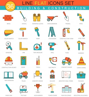 Icone di linea piatta di strumenti di costruzione e costruzione