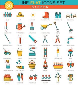 Icone di linea piatta di strumenti di giardino
