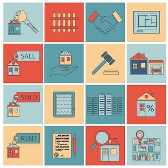 Icone di linea piatta immobiliare