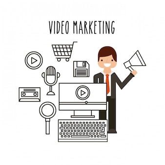 Icone di linea piatta video marketing